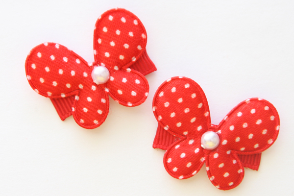 Christmas Baby Snap Clip Satin Dot Butterfly