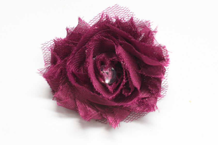 **special** Plum Shabby Chic Flower with bonus rhinestone