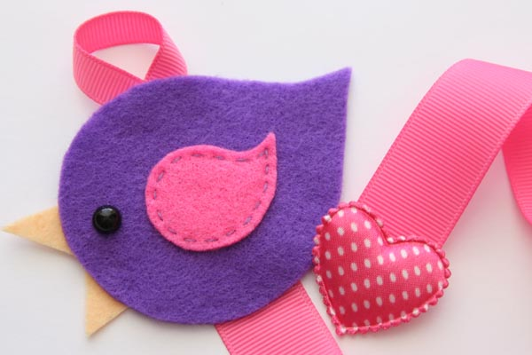 Lovebird Hairclip Holder - Purple and Hot Pink